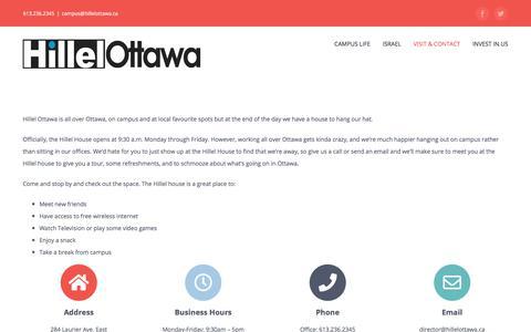 Screenshot of Contact Page hillelottawa.ca - Contact • Hillel Ottawa - captured July 20, 2018