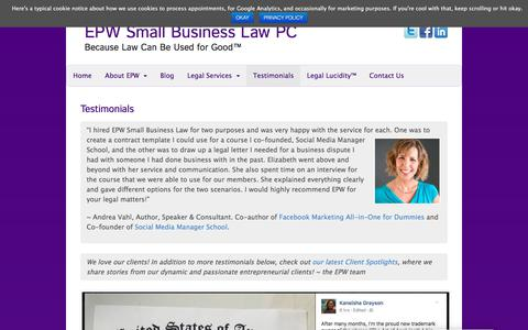 Screenshot of Testimonials Page elizabethpottsweinstein.com - Testimonials - EPW Small Business Law PC - captured Sept. 25, 2018