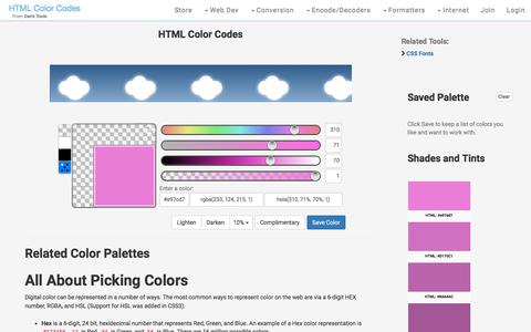 Screenshot of Home Page hexcolortool.com - HTML Color Codes - What's your color - captured Sept. 22, 2018