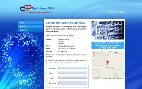 Screenshot of Contact Page netcomsw.co.uk - Fibre optic cabling - Plymouth| Net-Com (SW) Ltd - captured Oct. 7, 2014