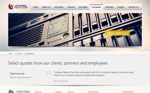Screenshot of Testimonials Page verveba.com - Testimonials | Verveba Telecom - captured Oct. 26, 2014