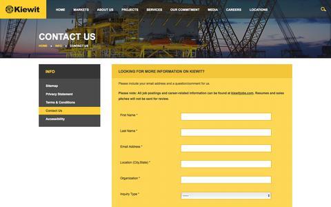 Screenshot of Contact Page kiewit.com - Kiewit : Contact Us - captured Oct. 2, 2017