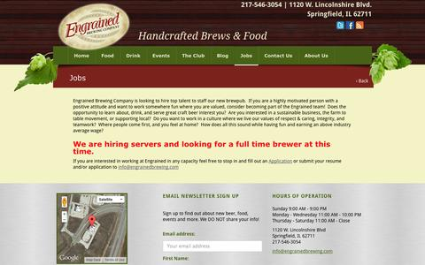 Screenshot of Jobs Page engrainedbrewing.com - Jobs › Engrained Brewing Company ‹ craft beer | natural food | Springfield, IL - captured Oct. 3, 2014