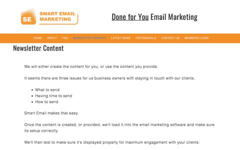 Newsletter Content - Smart Email