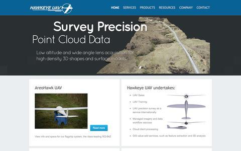 Screenshot of Home Page hawkeyeuav.com - Home - HAWKEYE UAV - captured Oct. 2, 2014