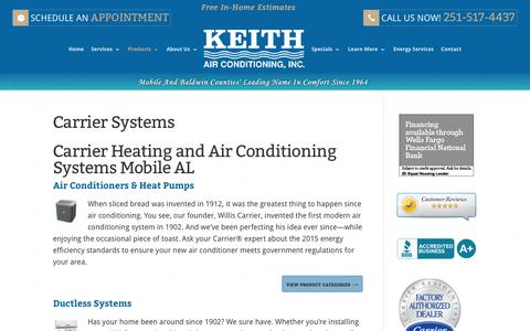 Screenshot of Products Page keithair.com - Carrier Products - captured Oct. 17, 2017