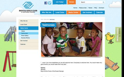 Screenshot of Testimonials Page bgcnwga.org - Testimonials | Boys & Girls Clubs of Northwest Georgia - captured Oct. 5, 2014
