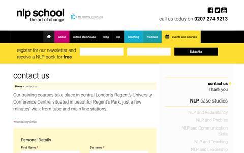 Screenshot of Contact Page nlpschool.com - contact us - NLP School - captured Oct. 18, 2018