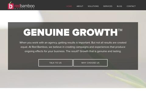 Screenshot of Home Page redbamboomarketing.com - Red Bamboo Marketing: Experience Genuine Growth - captured Dec. 29, 2015