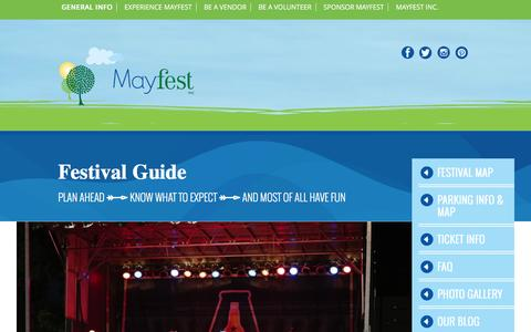 Screenshot of FAQ Page mayfest.org - Festival Guide | Mayfest - captured Dec. 29, 2016