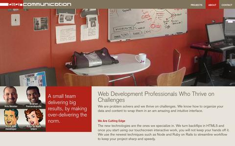 Screenshot of About Page aliencom.net - Web Development Shop | Alien Communication - captured Oct. 4, 2014