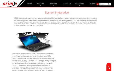 Screenshot of Services Page asimindia.com - Services - System Integration Solutions   Asim Navigation - captured Oct. 20, 2018