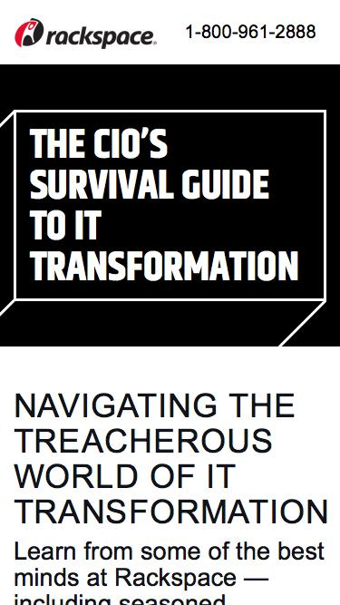 Screenshot of Landing Page  rackspace.com - Download Our Ebook: The CIO's Survival Guide to IT Transformation