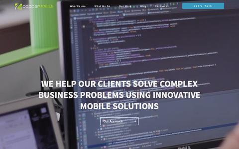 Screenshot of Home Page coppermobile.com - Copper Mobile | Mobile App Design & Development Company in Dallas, TX - captured Dec. 4, 2015