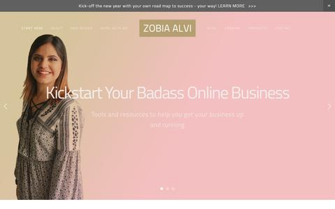 Screenshot of Home Page zobiaalvi.com - Zobia Alvi { Web Developer | Entrepreneur | Blogger } - captured Jan. 25, 2017