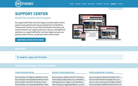 Screenshot of Support Page mhthemes.com - Support Center | MH Themes - captured July 21, 2016