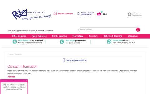 Screenshot of Contact Page rebelofficesupplies.co.uk - Contact us - Rebel Office Supplies - captured Jan. 24, 2019