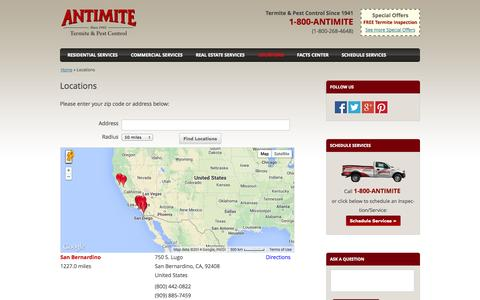 Screenshot of Locations Page antimitepestcontrol.com - Pest & Termite Control Antimite Locations - captured Oct. 4, 2014