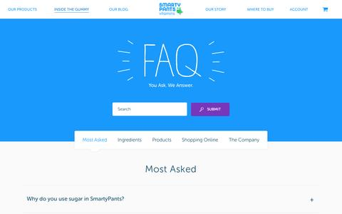 Screenshot of FAQ Page smartypantsvitamins.com - Most Asked Archives | SmartyPants - captured March 5, 2016