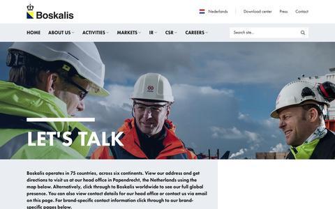 Screenshot of Contact Page boskalis.com - Contact - Royal Boskalis Westminster N.V. - captured May 12, 2016