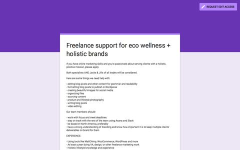 Screenshot of Jobs Page google.com - Freelance support for eco wellness + holistic brands - captured Sept. 24, 2018