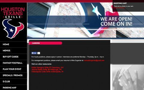 Screenshot of Jobs Page g3restaurants.com - Houston Texans Grille | Careers - captured Oct. 3, 2014