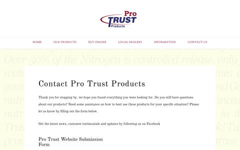 Screenshot of Contact Page protrustproducts.com - Contact Pro Trust Products | Pro Trust Products Website - captured May 12, 2017