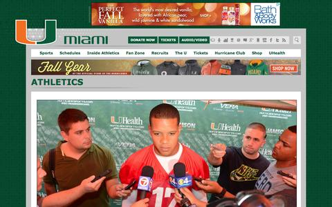 Screenshot of Press Page hurricanesports.com - Athletic Communications & Digital Strategy - University of Miami Hurricanes Official Athletic Site - captured Nov. 2, 2014