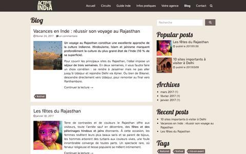 Screenshot of Blog voyageinde.fr - Article Archives - Voyage Inde - captured March 15, 2018