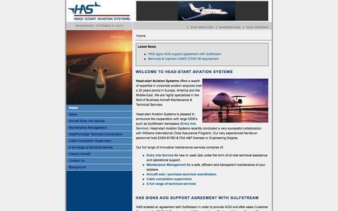 Screenshot of Home Page headstartaviation.com - Head-Start Aviation Systems - Home - captured Oct. 1, 2014