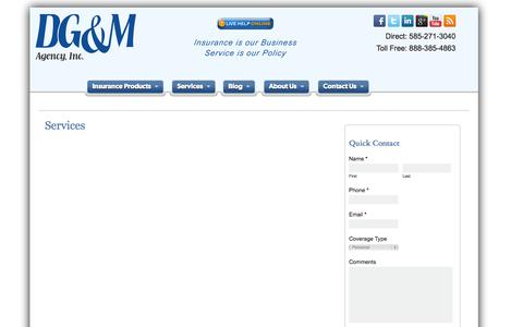 Screenshot of Services Page dgmagency.com - Services | DG&M Insurance Agency - captured Sept. 30, 2014