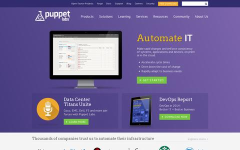 Screenshot of Home Page puppetlabs.com - Puppet Labs: IT Automation Software for System Administrators - captured July 11, 2014