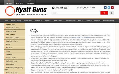 Screenshot of FAQ Page hyattgunstore.com - FAQs - Hyatt Guns - captured Feb. 7, 2018