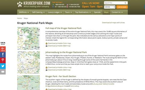 Screenshot of Maps & Directions Page krugerpark.com - Maps | krugerpark.com - captured Aug. 23, 2016