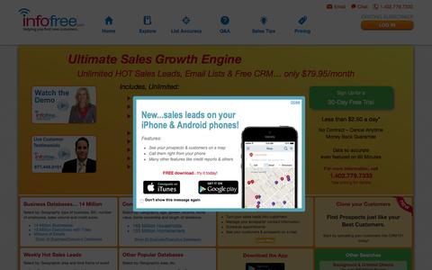 Screenshot of Home Page infofree.com - Unlimited Sales Leads & Mailing Lists For $79.95 Per Month - captured Oct. 2, 2015