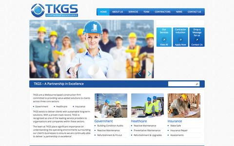 Screenshot of Home Page tkgs.com.au - TKGS | A Partnership in Excellence - captured Oct. 9, 2014