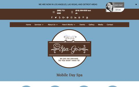 Screenshot of Home Page spa-gos.com - Home - Spa-Go's Mobile Day Spa, Salon & Lifestyle Co. - captured Oct. 1, 2018