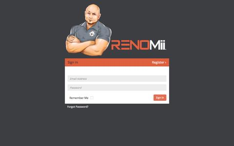 Screenshot of Login Page renomii.com - RENOMii - captured Oct. 26, 2014