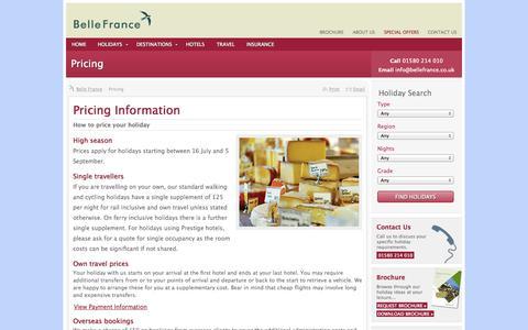 Screenshot of Pricing Page bellefrance.co.uk - Pricing Information ‹ Holidays in France   Belle France - captured Sept. 30, 2014