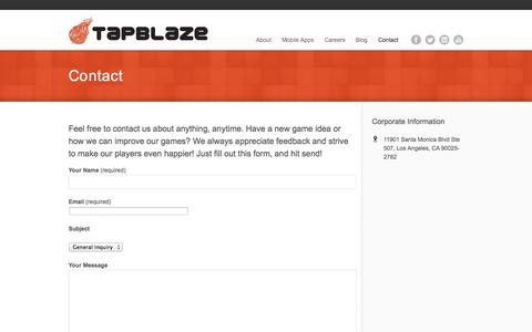 Screenshot of Contact Page tapblaze.com - Contact | TapBlaze - captured Sept. 17, 2014