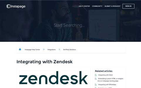 Screenshot of Support Page instapage.com - Integrating with Zendesk – Instapage Help Center - captured Nov. 9, 2018
