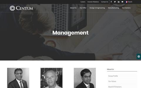Screenshot of Team Page centumelectronics.com - Management – Centum - captured Sept. 27, 2018