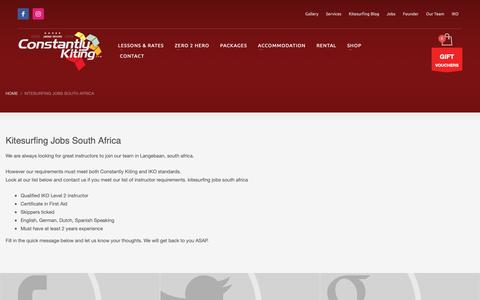 Screenshot of Jobs Page constantlykiting.com - kitesurfing jobs south africa - Join Constantly Kitings team. - captured Nov. 5, 2018