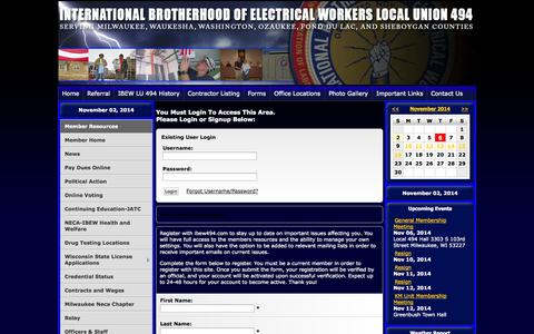 Screenshot of Press Page ibew494.com - IBEW LOCAL UNION 494 - - captured Nov. 2, 2014