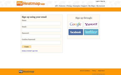Screenshot of Signup Page myheatmap.com - myHeatmap.com — Create and share heatmaps using geospatial data - captured Oct. 8, 2014