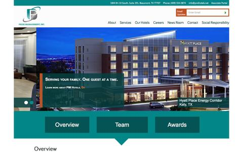 Screenshot of About Page pmihotels.net - Pride Management Inc | Hotel Development and Management - captured Jan. 30, 2016