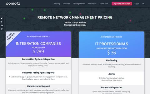 Screenshot of Pricing Page domotz.com - Remote Network Management Pricing - Low Cost Remote Monitoring - captured May 5, 2017