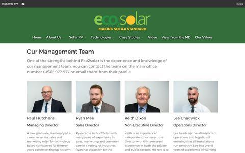 Screenshot of Team Page eco2solar.co.uk - Our Management Team - captured July 15, 2017
