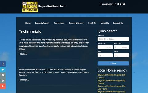 Screenshot of Testimonials Page bayourealtors.com - Testimonials | Bayou Realtors, Inc. | Real Estate | Homes For Sale | League City | Texas | Property Search - captured Nov. 3, 2014