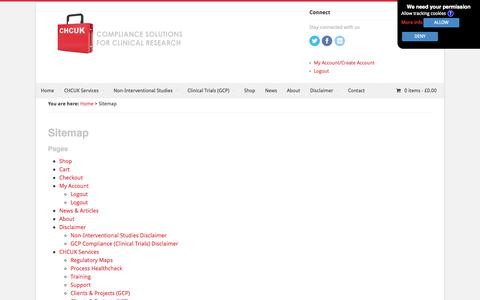 Screenshot of Site Map Page chcuk.co.uk - NIS, GCP & ICH | Clinical Trials | Observational Studies | CHCUK - captured Oct. 1, 2014